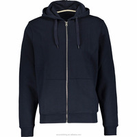 Chinese Supplier Latest Mens Simple Soft Fabric Navy Zipped Hoodie Plus Size