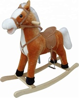 78*28*68cm SEDEX audit New fashion light brown color plush rocking horse
