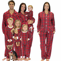 Custom Mother Daughter Matching Clothing Family Matching Red Plaid Cotton Flannel Pajamas PJs Sets Family Matching Pajamas