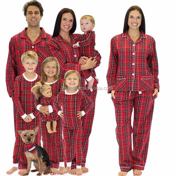 75986d02230 Custom Mother Daughter Matching Clothing Family Matching Red Plaid Cotton Flannel  Pajamas PJs Sets Family Matching