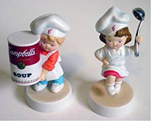 "2003 Porcelain Pair of Campbell's Soup Kids Boy & Girl Porcelain Figurines - 4"""