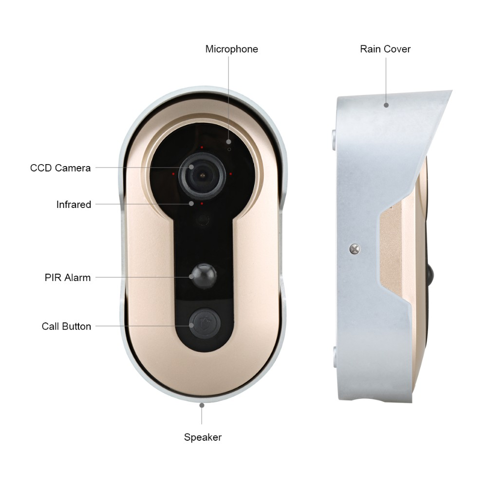 camera wireless motion detection door bell wifi smart 2 way audio video talking wire free wireless - Wifi Deadbolt