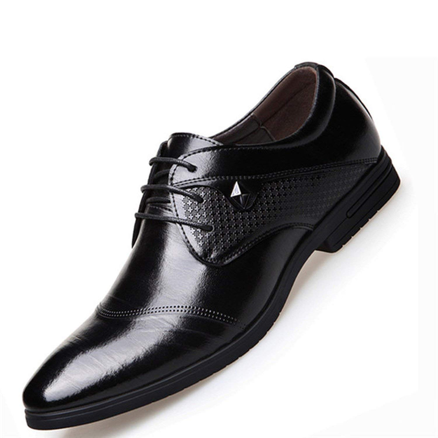 Memoriesed Italian Men Formal Shoes Business Oxfords Men Leather Dress Shoes Pointed Toe,Black Dress Shoes,6