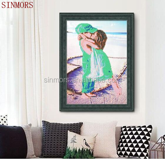 Girl Boy Kiss On The Sand Love Heart Design Vinyl Wall Decals Home Decor Acrylic 5D DIY Diamond Painting