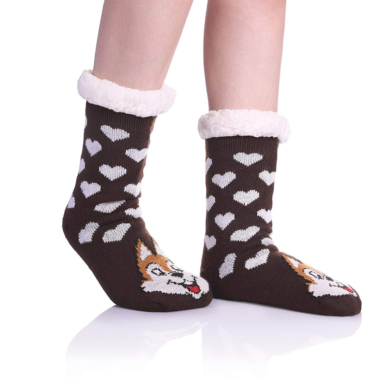 0df87884d83 Get Quotations · Womens Sherpa Winter Fleece Lining Knit Animal Socks Non  Slip Warm Fuzzy Cozy Slipper Socks