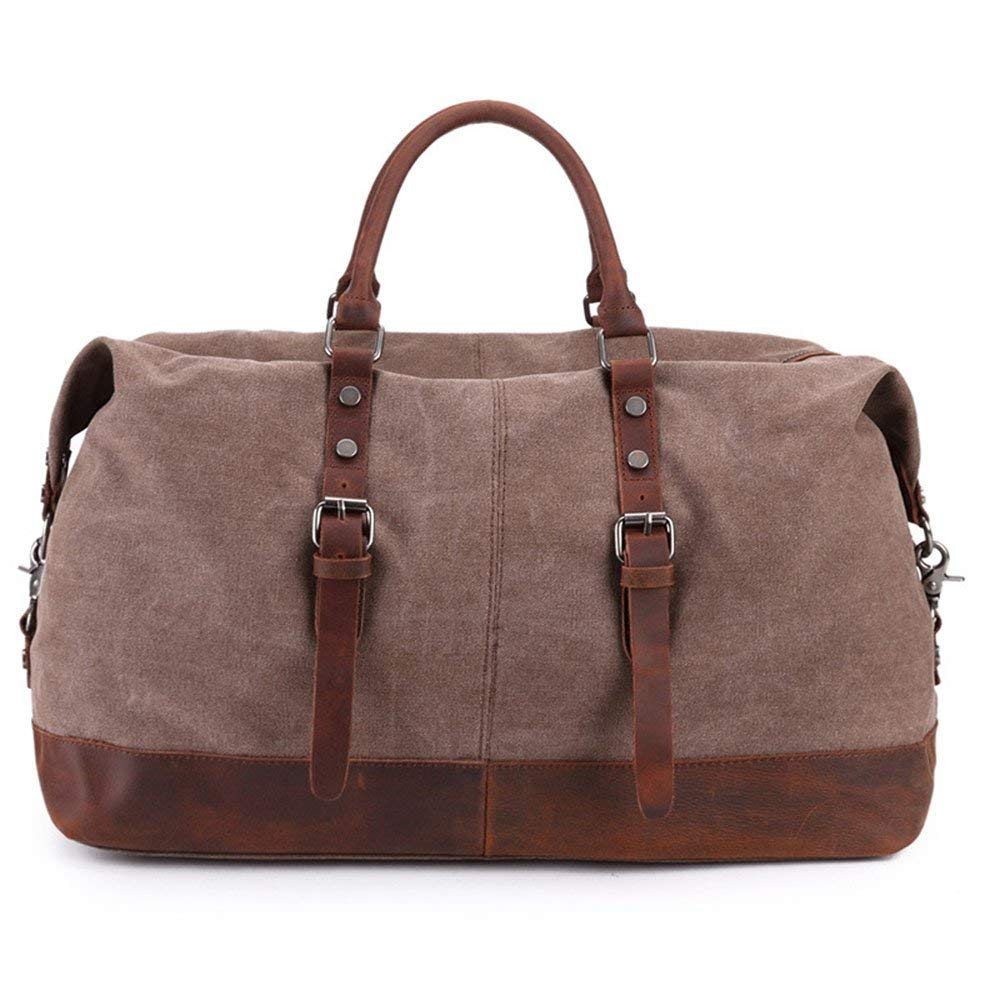 82252989c Get Quotations · Men's Canvas Bags Handbags Diagonal Bags Duffel Bags  Fitness Travel Weekender Bags (Color : Coffee