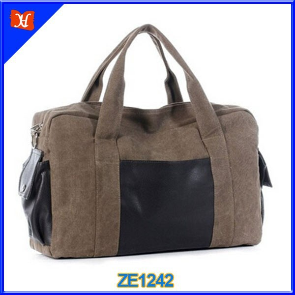 Durable canvas material tote small travel duffle bag/one day travel bag/high quality waterproof mommy diaper travel shoulder bag