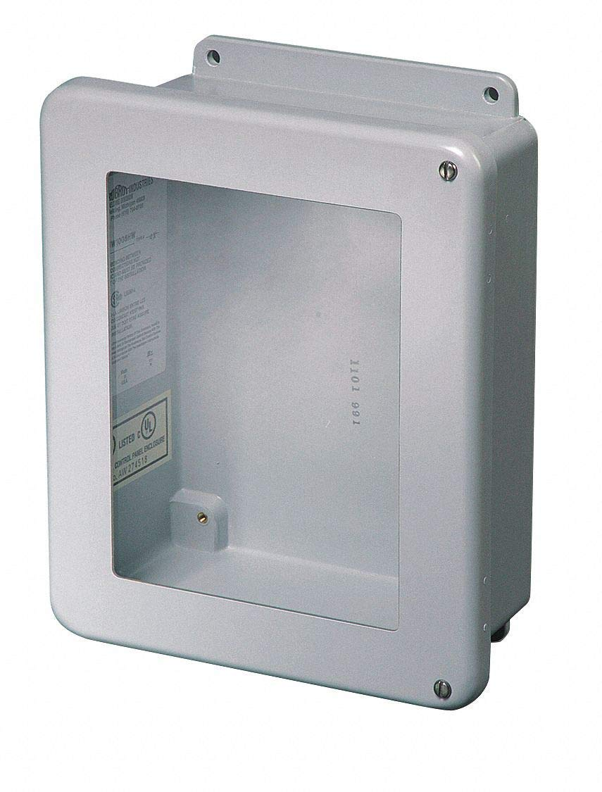 "10""H x 8""W x 4""D Non-Metallic Enclosure, Light Gray, Knockouts: No, Screws Closure Method"
