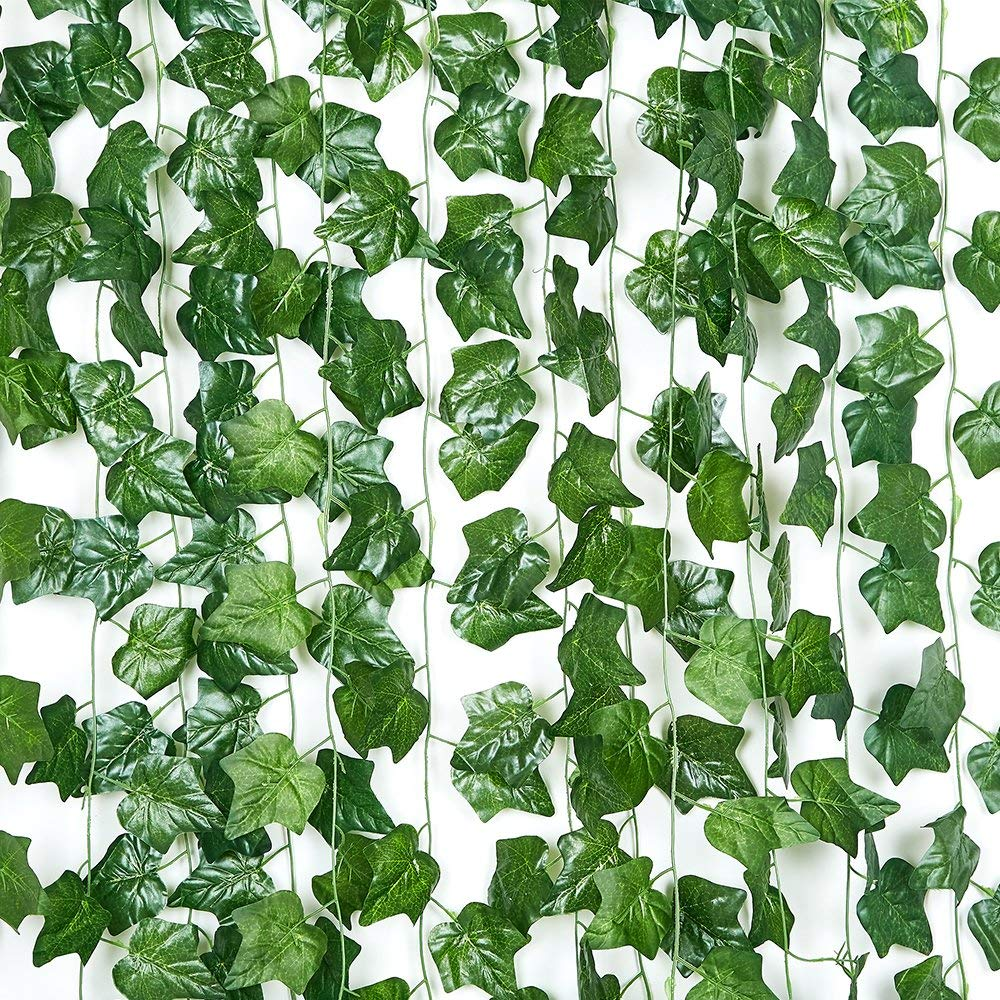 90FT-12 pack Artificial Ivy Hanging Plants Greenery Vines Fake Green Leaves Garland for Wedding Wall Décor Home Kitchen Garden Office