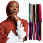 long style muslim cotton jersey scarf solid plain jersey hijab wholesale