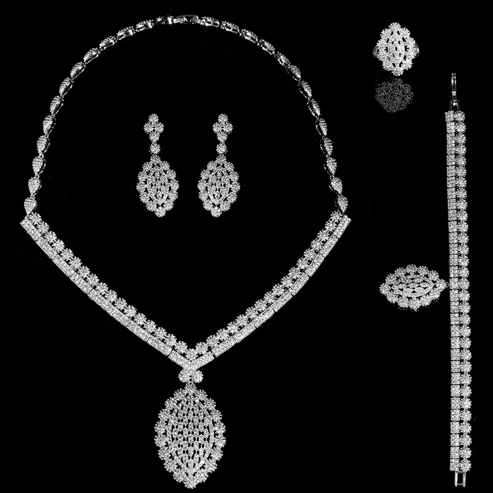 Guangzhou Sale OEM ODM manufacture AAA+ cubic zirconia copper immitation jewelry set