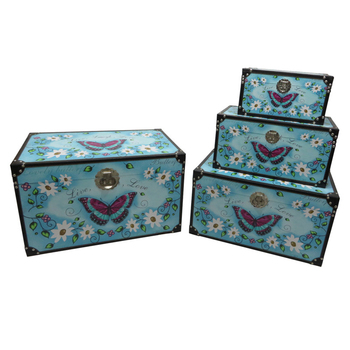 Home Garden Manufacturer Blue Butterfly Storage Trunk Chest, Storage Trunk  Lock