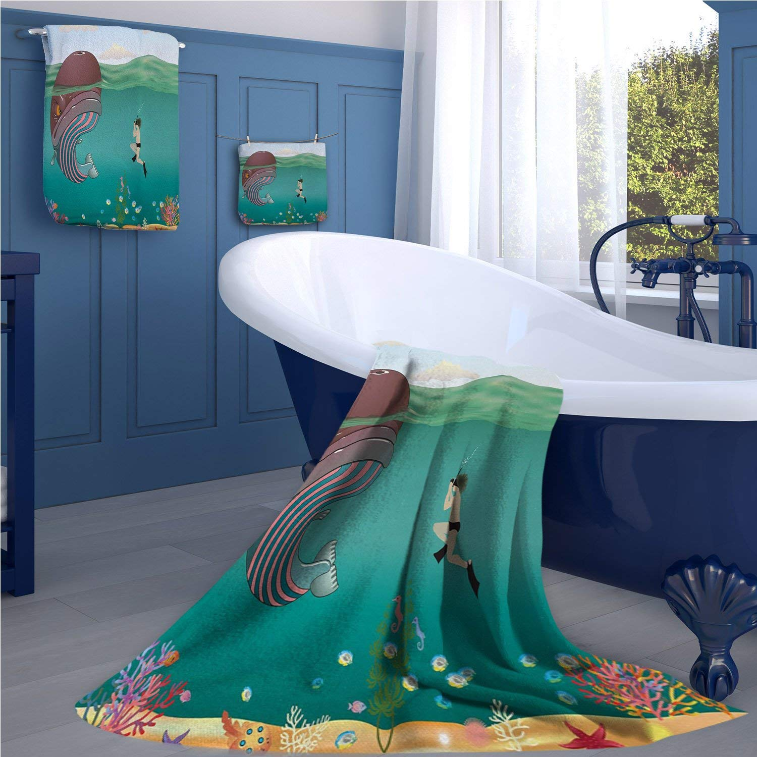 familytaste Whale Extra wide bathroom accessories Striped Huge Whale Character meet with a Diver in Ocean with Shells Cartoon Image luxury hand towels set Multi Colored