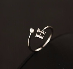 925 Silver Letter H Customized Ring Alphabet Initial Ring