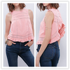 Cheap Wholesale Ruffle Clothing Cotton Elegant Lace Insert Pin-Pleated Tank Tops for Lady NT6771