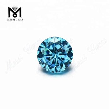 Factory Machine Cut Round 10mm Aquamarine Cubic Zirconia Loose CZ Gemstone
