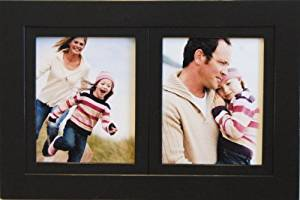 2-Opening 8x10 Black Wood Collage Picture Frame - Multi-Picture Frame for Two (2) 8x10 Photos