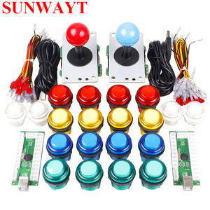 Classic Arcade DIY Kit Parts 2x USB LED Encoder To PC Consoles Games + 2x 4/8 Ways Joystick + 20x 5V Illuminated Push Buttons