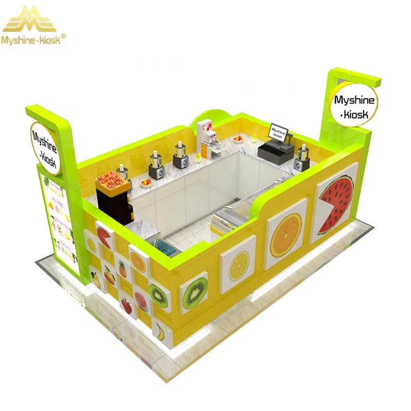 Customized Modern Bubble Tea Kiosk Small Orange Juice Shop