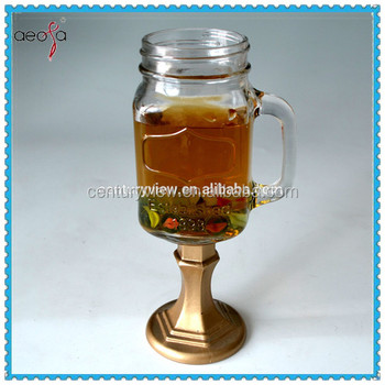 Long stem empty glass mason jar with handle buy mason jar with handle empty glass mason jar - Stemmed mason jars ...