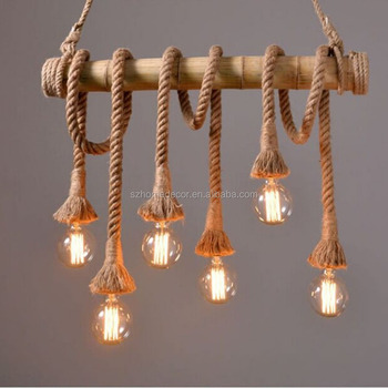 Retro Rope Pendant Lamp Loft Vintage Restaurant Bedroom Diningroom Hand Knitted Hemp Decorated Bamboo Light Indoor Christmas Decorations