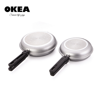 Aluminum double sided frying pan electric frying pan with detachable handle