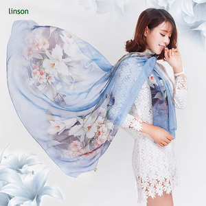 Soft Hand feel Light Blue Color Flower Printed Chiffon Scarves Wholesale