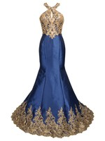 2016 Luxury Halter Golden Embroidery Applique Beaded Satin Party Prom Gowns Long Mermaid Evening Dress JS90214K