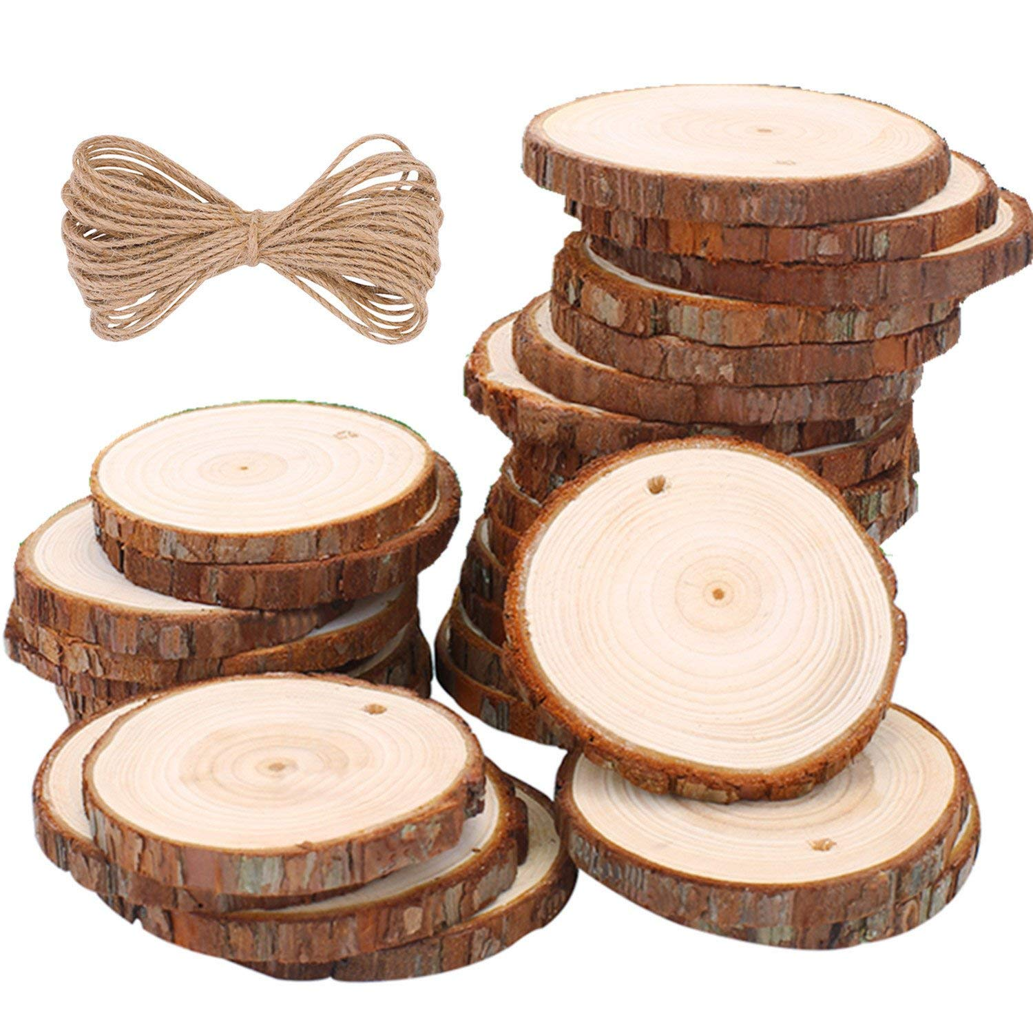"""Loveself Natural Wood Slices 30 Pcs 2.37""""-2.75"""" Round Discs Unfinished Predrilled Wooden Circles for Centerpieces Coasters Christmas Ornaments Decorations (30 Pcs 2.37""""-2.75"""") (Wood Silces 30 Pcs)"""