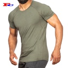 High Quality 180gsm Muscle Fitted Sportswear Cotton Spandex Sports Gym Dry Fit T Shirt
