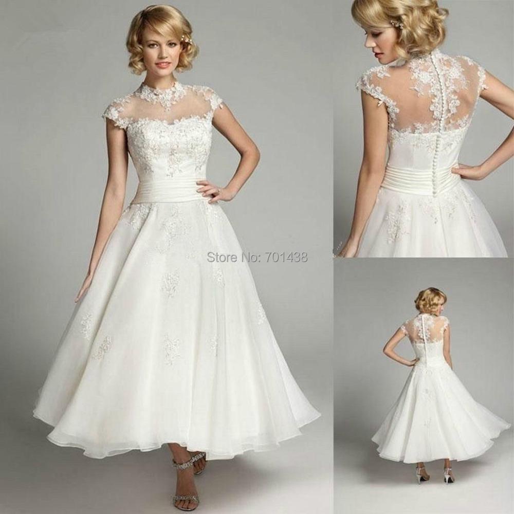Elegant Lace Sleeve Short Wedding Dresses 2016 Scoop Neck: Aliexpress.com : Buy DL 1464 Elegant Cap Sleeve High Neck