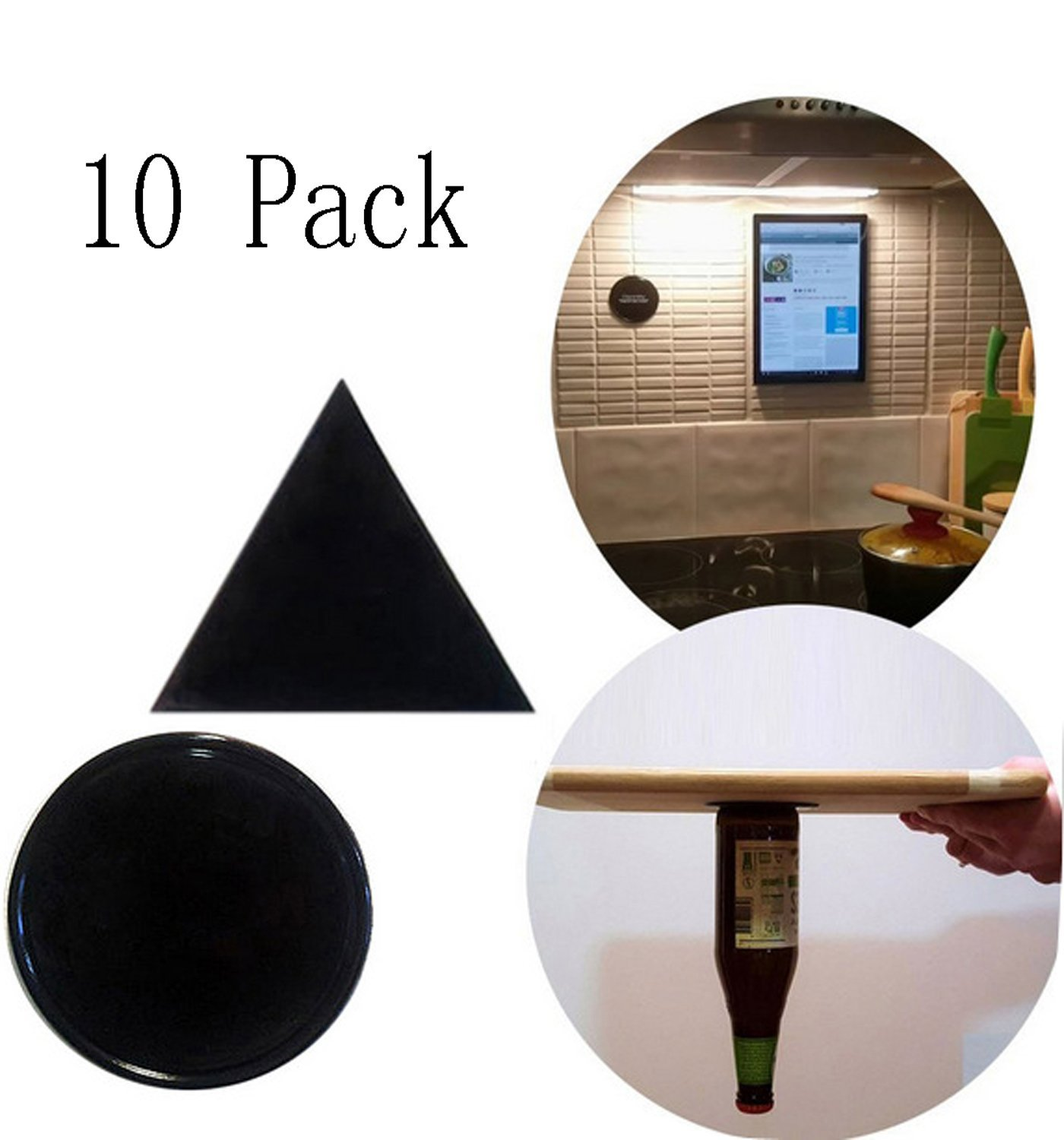 JOKHOO Sticky GeL Pads, Anti-Slip Fixate Gel Pads, can Stick to Metal, Kitchen Cabinets Glass, Mirrors, Whiteboards or Tile, Car GPS, Reusable, Washable, Durable(5 Round + 5 Triangle) (Black)