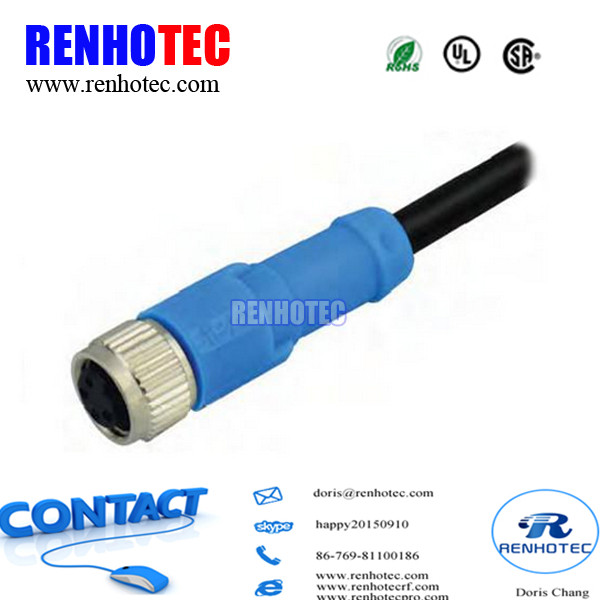 Air plug IP67 IP68 Blue Shield Casting Cable M8 M12 Female Plug 5pin 6pin 8pin Binder Connector