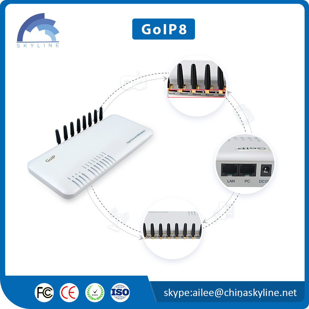 sms sending device USSD goip 8 voip gateway wireless pbx system