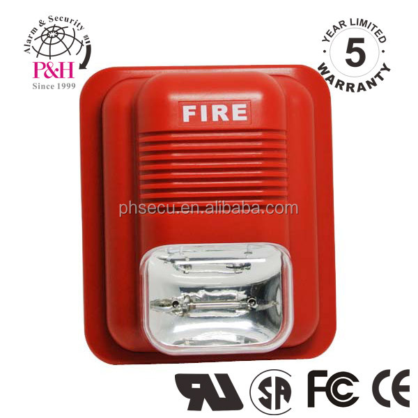 12~24V,3 Alarm Voice,Conventional Fire Alarm Siren Speaker With Strobe Light