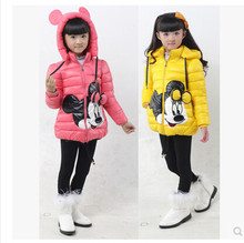 Factory price 2015 new fashion children winter jacket minnie mouse cotton padded jacket for girl thick