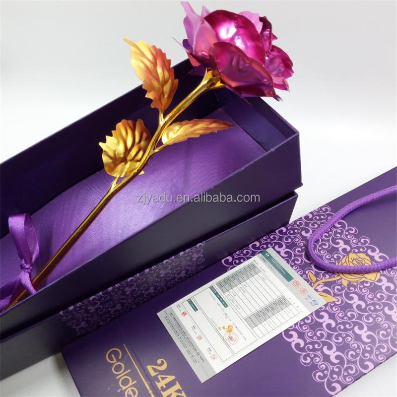 Top Hot The Best Rose to Your Girlfriend The 24K Gold Dipped Flower with Gift box 24K gold plated natural rose flower