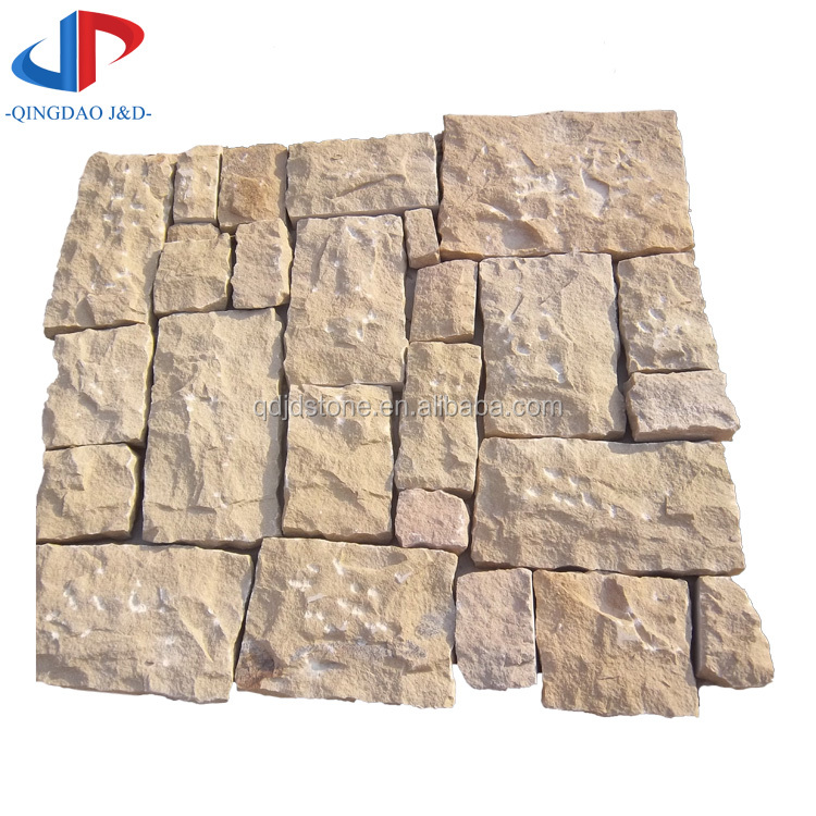 Buff sandstone nautral split random pavers