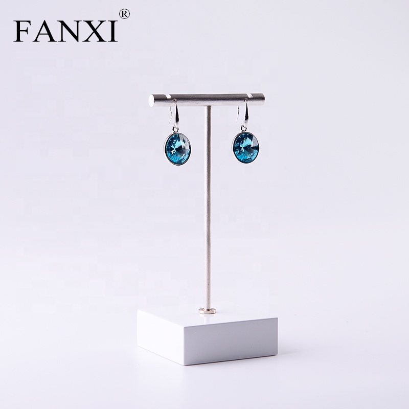 FANXI Fashion Custom Shop Countertop Organizer Jewelry Display Rack White Lacquered Wood Stand Chrome Metal Earrings Holder, White or customized color for metal earrings holder
