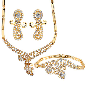 Wholesale Fashion Jewelry Indian Bridal Wedding Crystal Gold