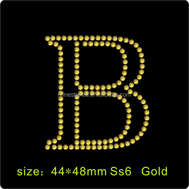 Factory price Custom Glitter letter symbol Iron On Rhinestone Transfer Motifs