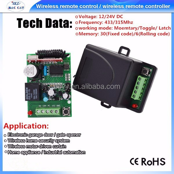 Top Sale Wireless Rf Transmitter and Receiver 433 Single Channel Remote Controller