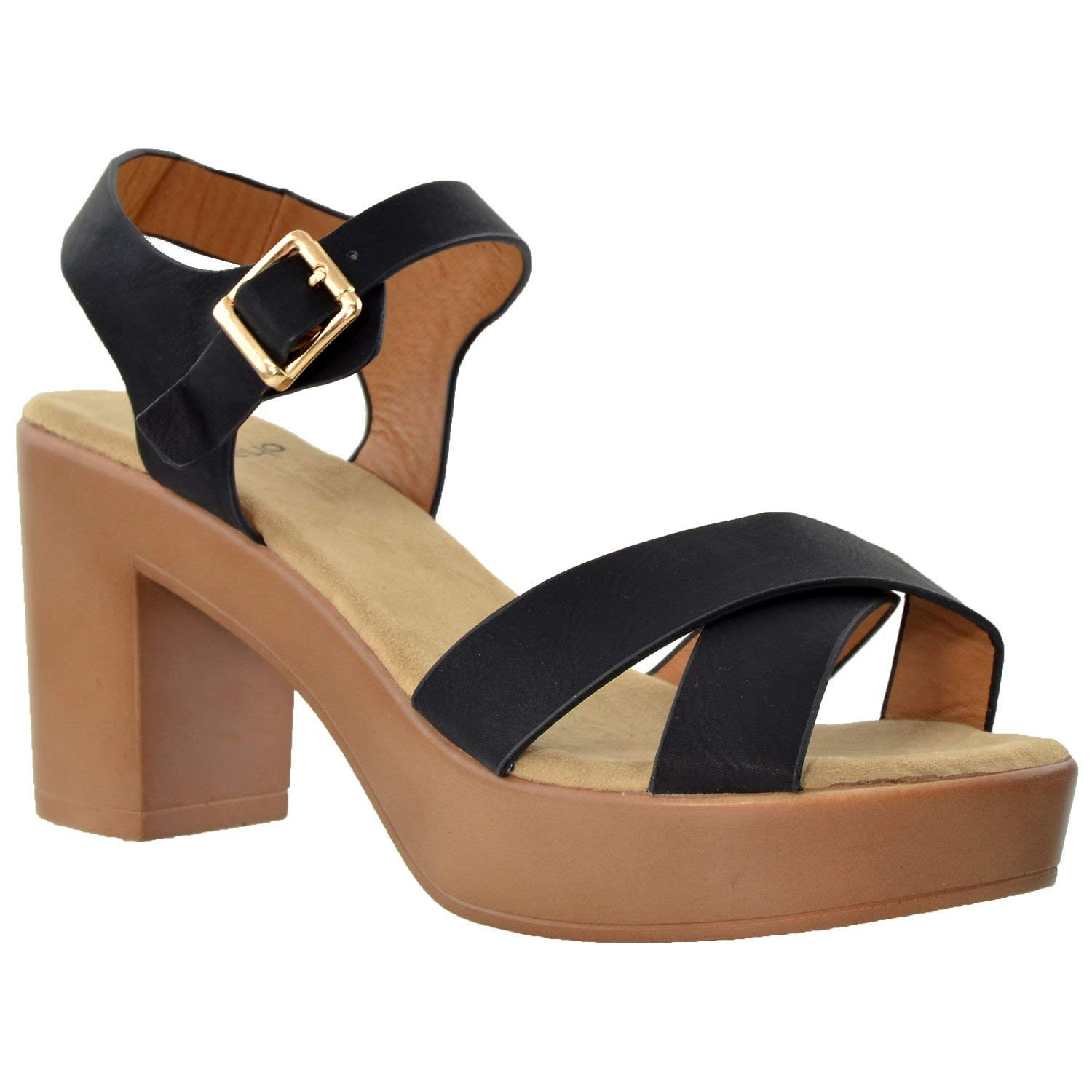 0a815c9a00f Get Quotations · SOBEYO Womens Platform Sandals Open Toe Crisscross Strap  Chunky Block Heel Shoes