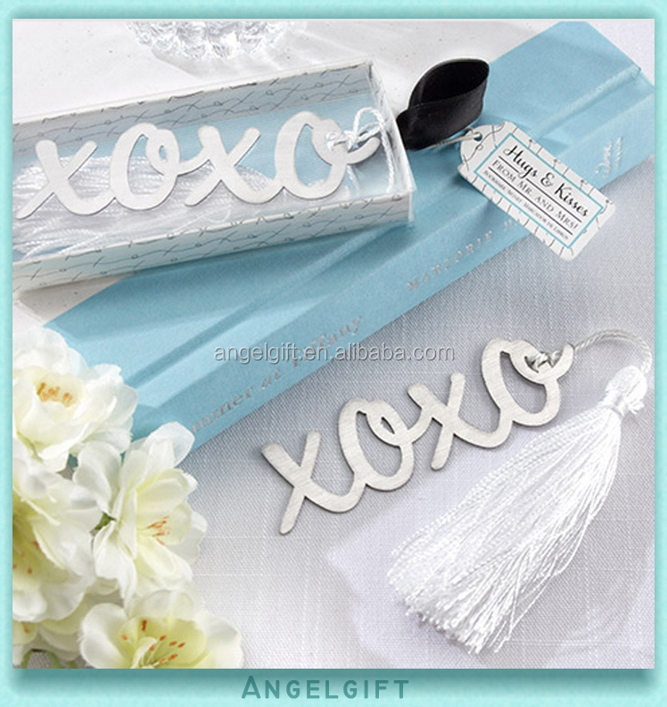 Wedding Favors Hugs and Kisses Silver Finish Metal Bookmark