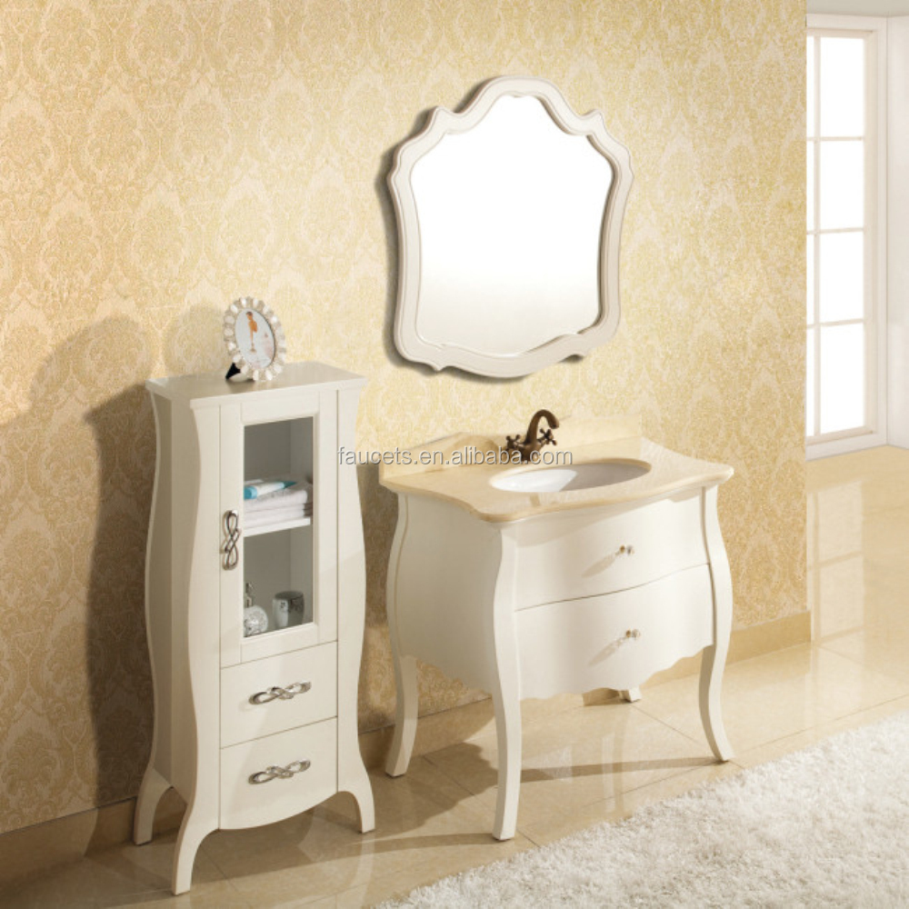 White Wooden Makeup Cabinet Washing Stand