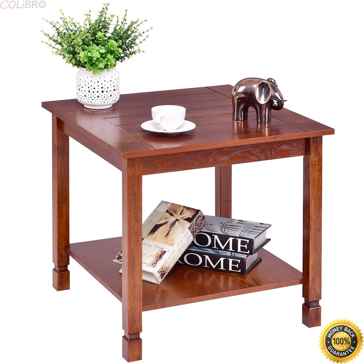 COLIBROX--Wood Side Table End Table Night Stand Coffee Table with Storage Shelf Walnut,contemporary nightstands bedroom,nightstands clearance,attractive and practical side table