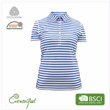 Short sleeves merino wool sports thermal polo women t shirt for ladies in bulk sale