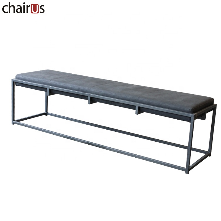 Long Sofa Footrest Pouf Living Room Modern Metal Frame Leather Bench Waiting Room Pouf