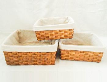 Hiyi El Yapımı Doğal Ahşap Yonga Astarlı Ekmek Sepeti Depolama