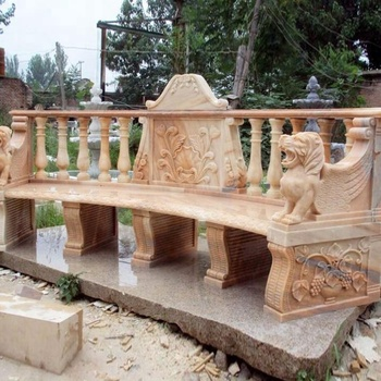 Outdoor Decoration Lion Head Sunset Red Marble Garden Bench